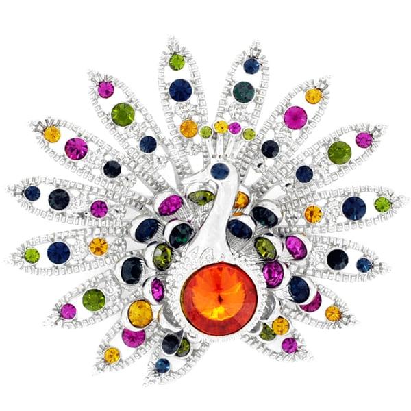 Silvertone Multi-color Crystal Peacock Brooch Pin