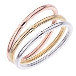 Stainless Steel Colored Ridged Pattern Stackable Fashion Bangle