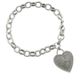Finesque Silver Overlay Diamond Accent Heart Charm Bracelet