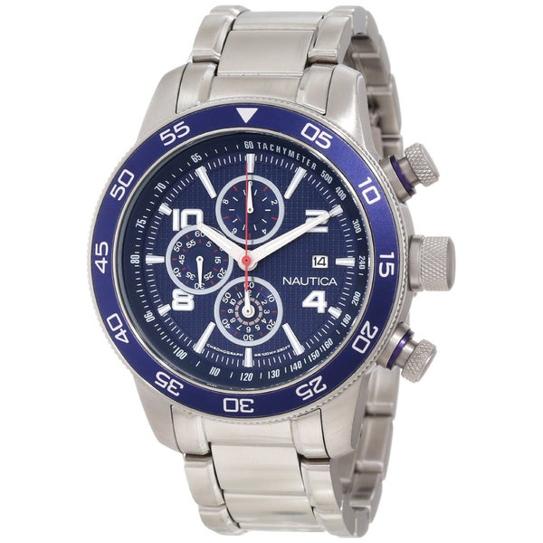 Nautica Men's Stainless Steel Blue Dial Chronograph Watch