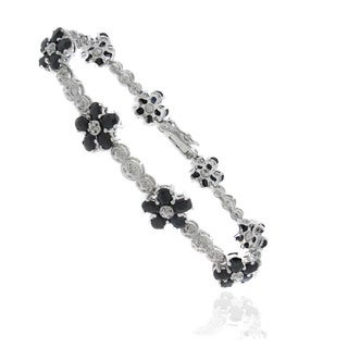 Dolce Giavonna Silver Overlay Sapphire and Diamond Accent Flower Bracelet