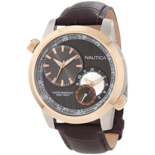 Nautica Men's Brown Crocodile Leather Chronograph Watch