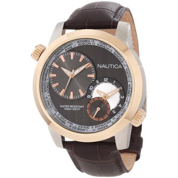 Nautica Men's Brown Crocodile Leather Chronograph Watch