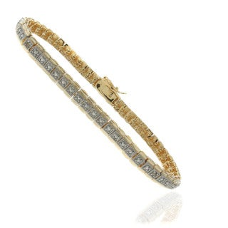 Finesque 18k Gold Overlay Diamond Accent Two-tone Tennis Bracelet