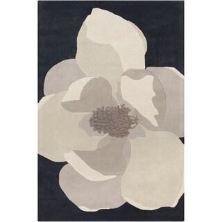 Allie Handmade Floral Black Wool Rug (5' x 7'6)