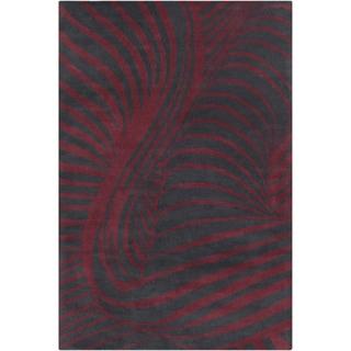 Allie Handmade Abstract Black/ Burgundy Wool Rug (5' x 7'6)