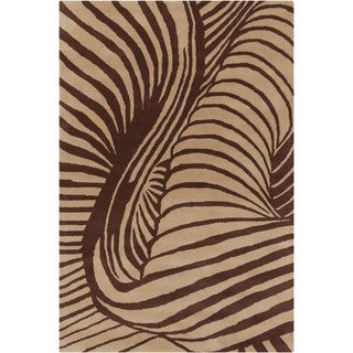 Allie Handmade Abstract Tan/ Brown Wool Rug (5' x 7'6)