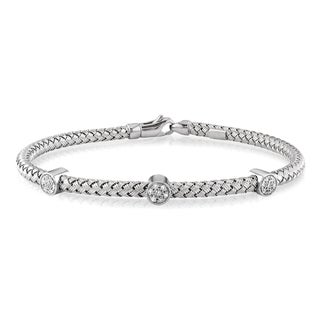 New! Miadora 14k White Gold Diamond Accent Bangle
