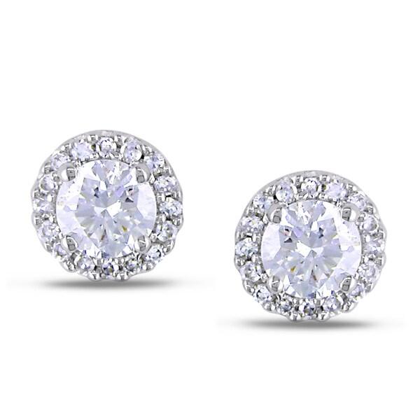 Miadora 18k White Gold 3/5ct TDW Diamond Earrings (G-H, SI1-SI2)