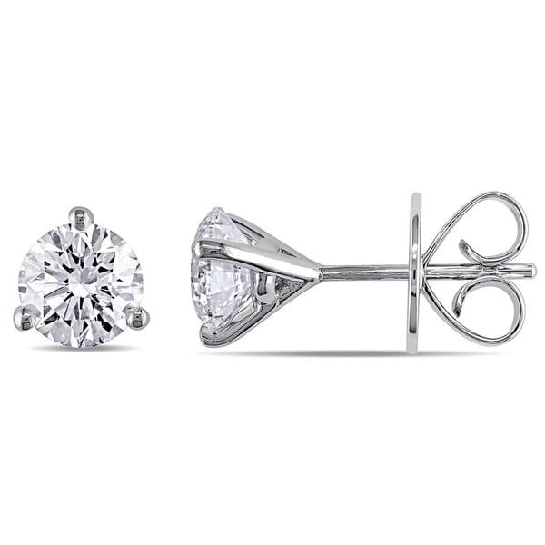 Miadora Signature Collection 18k White Gold 1 7/8ct TDW Round Martini Certified Diamond Earrings (H-I, SI2, IGI)