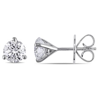 Miadora Signature Collection 18k White Gold 1 7/8ct TDW Round Martini Certified Diamond Earrings (H-I, SI2, IGI)