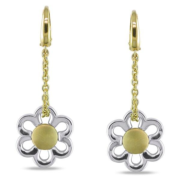Miadora 18k Two-tone Gold Flower Dangle Earrings