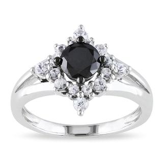 Miadora Silver 1/2ct TDW Black Diamond and Created Sapphire Ring