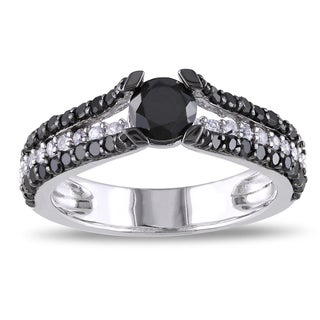 Miadora Sterling Silver 1ct TDW Black Diamond and Created Sapphire Ring