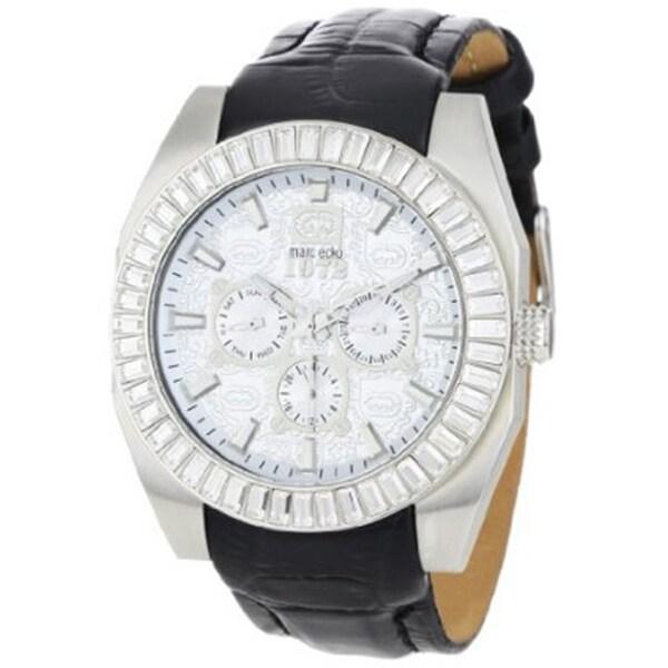 Marc Ecko Men's Black Leather Strap Silver Dial Watch