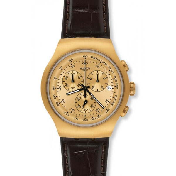 Swatch Men's Golden Hide Brown Leather Chronograph Watch