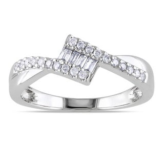 Miadora 10k White Gold 1/4ct TDW Baguette Cut Diamond Ring (G-H, I1-I2)