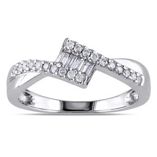 Miadora 10k White Gold 1/4ct TDW Baguette Cut Diamond Ring (G-H, I1-I2)