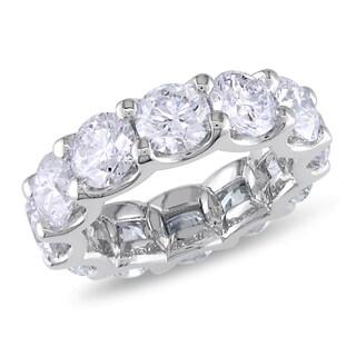 Miadora 18k White Gold 8 1/2ct TDW Diamond Eternity Ring (G-H, I1-I2) with Bonus Earrings