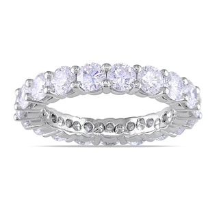 Miadora Platinum 3ct TDW Diamond Eternity Ring (F, VVS)