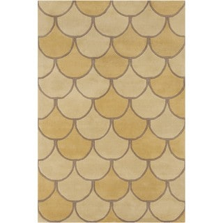 Allie Handmade Abstract Yellow Wool Rug (5' x 7'6)