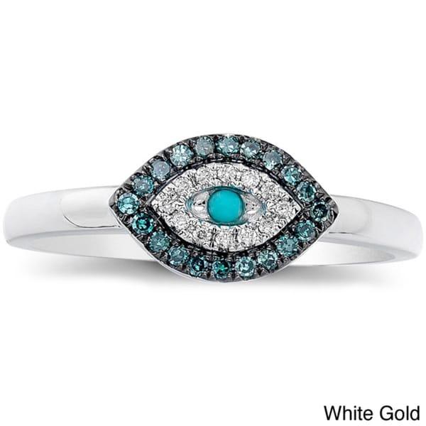 14k Gold Turquoise and 1/6ct TDW Diamond Evil Eye Ring (I-J, I1-I2)