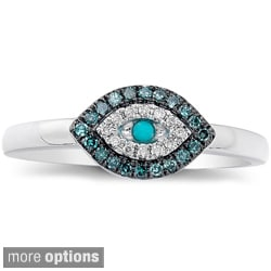 14k Gold Turquoise and 1/6ct TDW Diamond Evil Eye Ring (I-J, I1-I2)