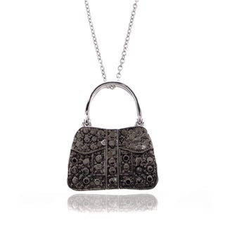 Finesque Silver Overlay Black Diamond Accent Purse Necklace