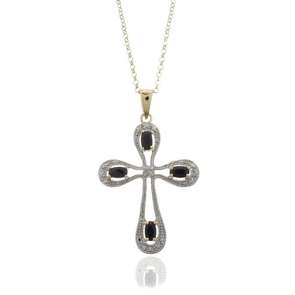 Dolce Giavonna 18k Gold Overlay Sapphire and Diamond Accent Cross Necklace