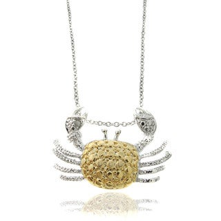 Finesque Silver Overlay Diamond Accent Two-tone Crab Necklace