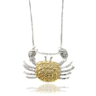 Finesque Silverplated Diamond Accent Two-tone Crab Necklace