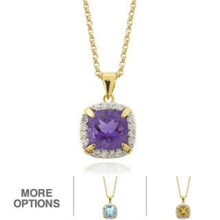 Dolce Giavonna 18k Gold Overlay Cushion-cut Gemstone and Cubic Zirconia Necklace
