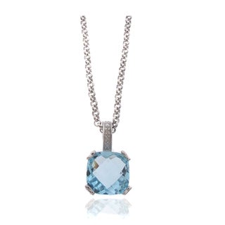 Dolce Giavonna Silver Overlay Blue Topaz and Diamond Accent Necklace