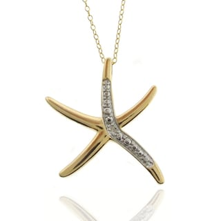 Finesque 18k Gold Overlay Diamond Accent Starfish Necklace