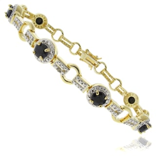 Dolce Giavonna 18k Gold Overlay Sapphire and Diamond Accent Two-tone Circle Bracelet