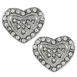 Alexa Starr Silvertone Rhinestone Pave Heart Earrings