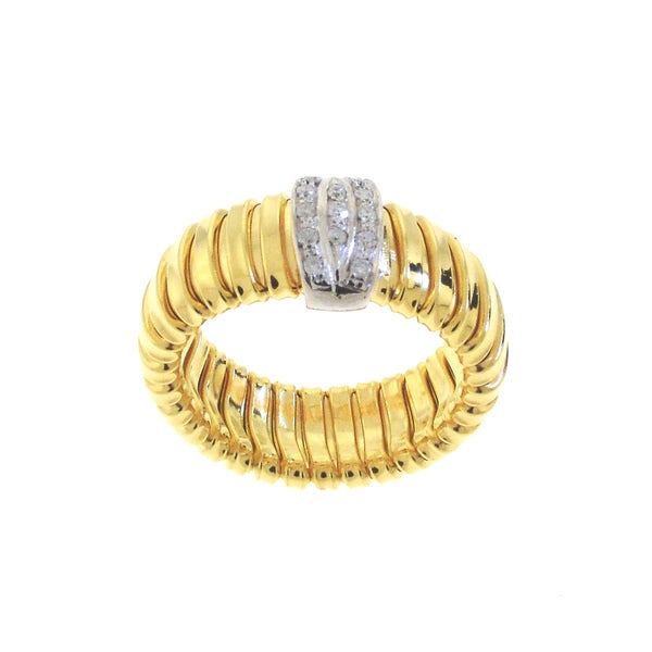 Beverly Hills Charm 14k Gold over Silver 1/8ct TDW Diamond Stretch Ring