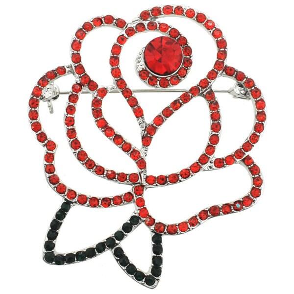 Silvertone Red/ Green Crystal Rose Pin Brooch