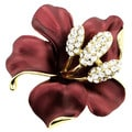 Goldtone White Crystal Red Hibiscus Flower Pin/ Pendant