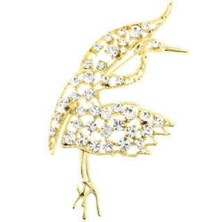 Goldtone Crystal Crane Bird Pin Brooch