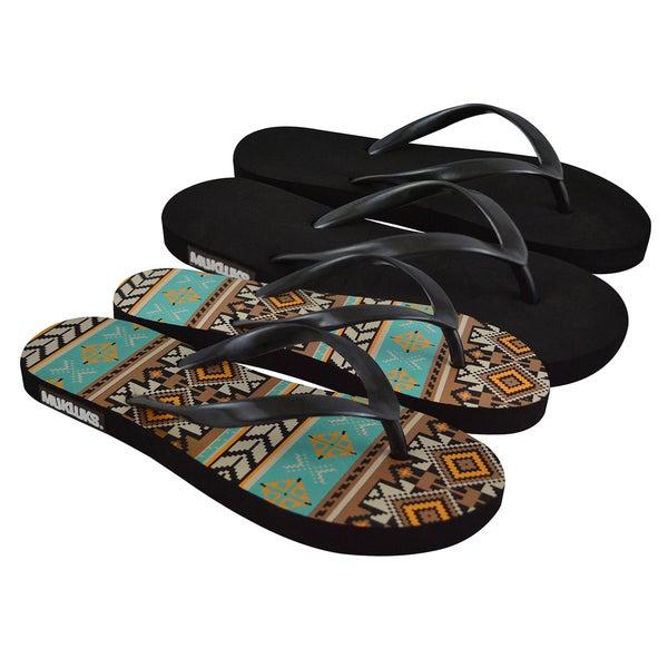 Muk Luks Women's Flip Flops (Set of 2 Pairs)
