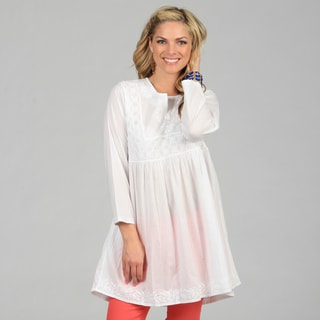 KC Signatures Women's White Hand-Embroidered Empire-Waist Cotton Tunic