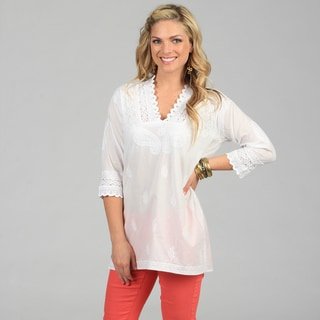 KC Signatures Women's White Paisley Embroidered Tunic