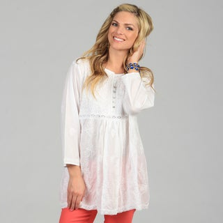 KC Signatures Women's White Hand-embroidered Empire Waist Tunic