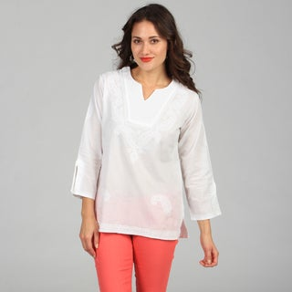 KC Signatures Women's V-Neck White Paisley Embroidered Tunic
