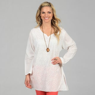 KC Signatures Women's White Full-length Star Embroidered Tunic