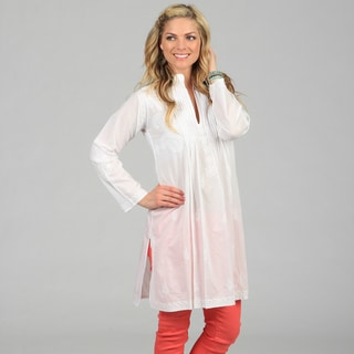 KC Signatures Women's White Full-length Paisley Embroidered Tunic