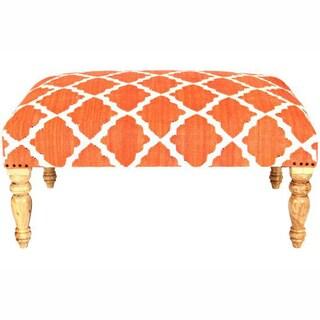 nuLOOM Hand Upholstered Moroccan Trellis Orange Wood Bench