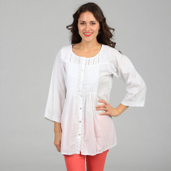 KC Signatures Women's Cotton Crew Neck White Tunic