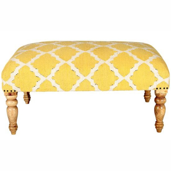 nuLOOM Hand Upholstered Moroccan Trellis Yellow Wood Bench